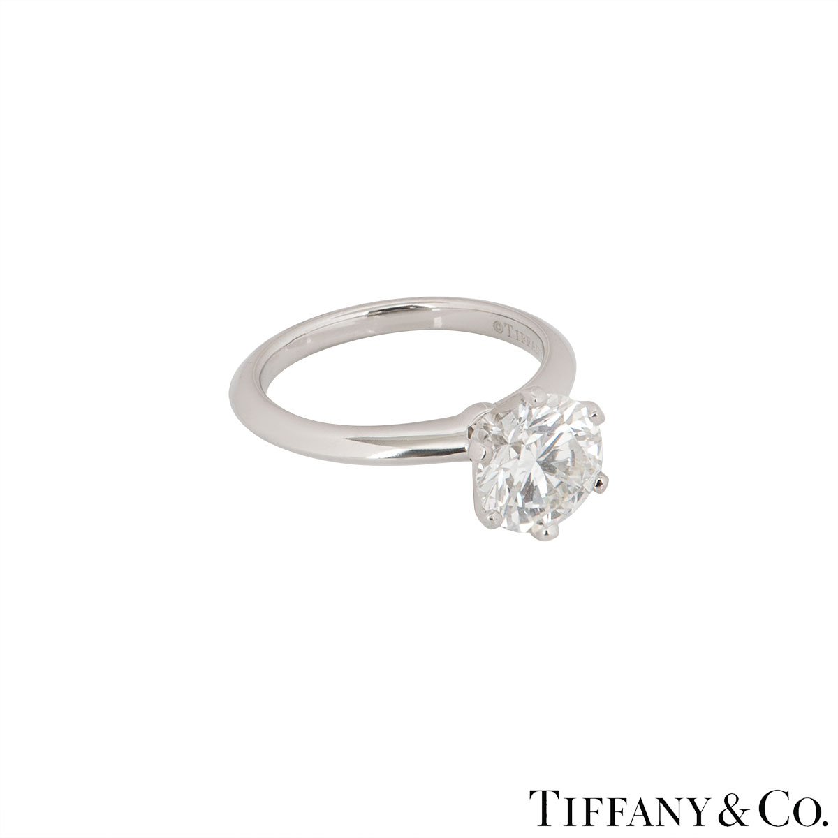 Tiffany & Co. Platinum Diamond Setting Ring 2.08ct I/VVS2 XXX